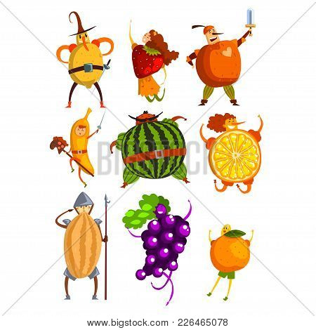 Funny Fruits Cartoon Characters Set, People In Fruit Costumes Comic Vector Illustrations On A White