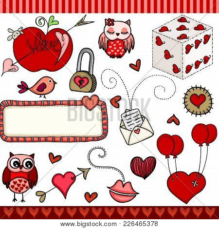 Scalable Vectorial Representing A Love Set Digital Elements, Illustration Isolated On White Backgrou