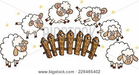 Scalable Vectorial Representing A Set Of Sheeps With A Fence, Illustration Isolated On White Backgro