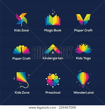 Bright colorful icons vector photo free trial bigstock bright colorful icons set with book windmill toy butterfly peacock house roof lotus flower kite and air balloon isolated on dark blue background mightylinksfo