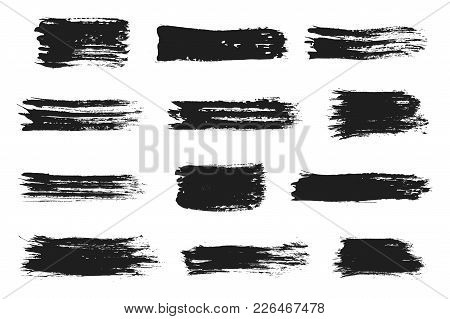 Ink Brush Strokes Set. Acrylic Paint With Grunge Texture Strokes. Dirty Black Ink Spots. Vector