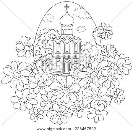 Easter Egg With A Church And Flowers. Black And White Vector Illustration Of An Egg With Ancient Rus