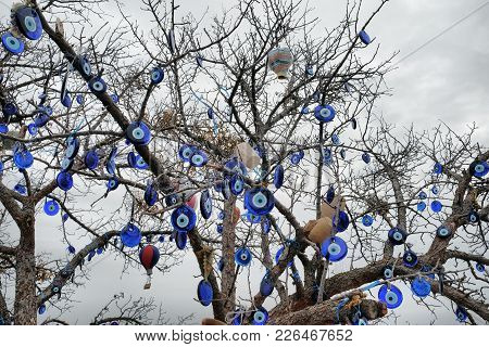 Nazar, Charms To Ward Off The Evil Eye , On The Branches Of A Tree In Cappadocia, Turkey