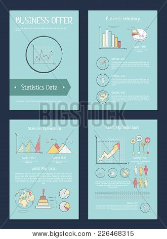 Business Offer And Efficiency, World Map Data And Statistics Optimisations, Posters With Diagrams An