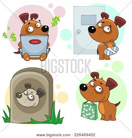 The Eleventh Collection Of Icons For Design Dogs, A Character With A Package Of Purchases, With A Co