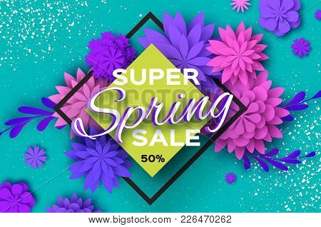 Origami Violet Super Spring Sale Flowers. Butterfly. Paper Cut Floral Card.happy Womens Day. 8 March