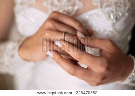 Bridal Hands With Wedding Ring And Wedding Manicure