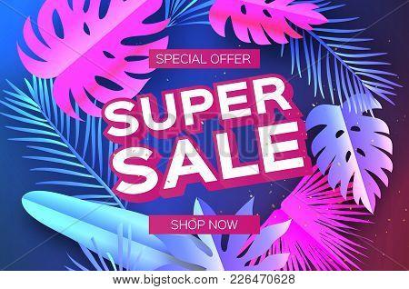 Tropical Super Sale Banne. Palm Leaves, Plants. Exotic Paper Cut Art. Hawaiian. Text. Origami Monste