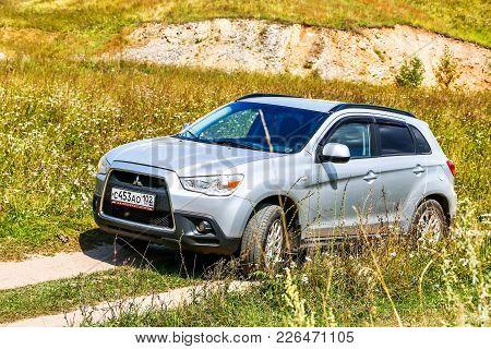 Asha, Russia - August 22, 2017: Motor Car Mitsubishi Asx At The Countryside.