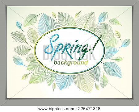 Spring Horizontal Banner Design, Vector Green And Fresh Leaves Floral Beautiful Background, Spring S