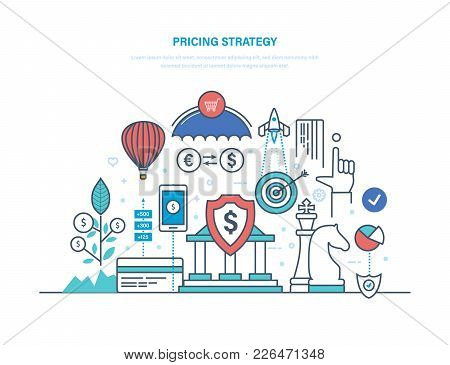 Pricing Strategy Concept. Marketing Politics, Competition In Market Economy, Profit And Growth, Anal