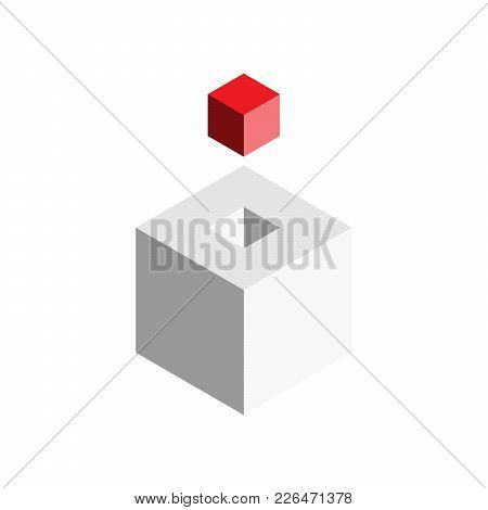 Solution Design Element Concept. Block Of 3d Cubes With Last Red Piece Outside. Vector Illustration.