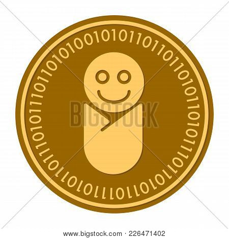 Newborn Golden Digital Coin Vector Icon. Gold Yellow Flat Coin Cryptocurrency Symbol Isolated On Whi