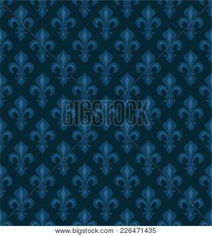 Royal Heraldic Lilies (fleur-de-lis) -- Dark Blue Velvet, Seamless Pattern, Wallpaper Background.