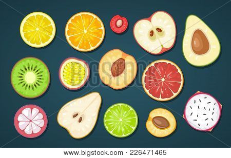 Set Slice Fruits. Vector Color Flat Illustration Lemon, Orange, Cherry, Apple, Avocado, Kiwi, Passio