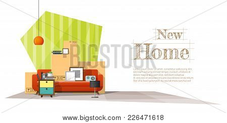 Moving Home Concept Background With Cardboard Boxes And Furniture In New Living Room , Vector , Illu