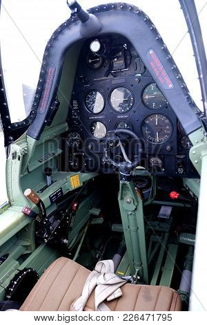 The Cockpit Of A Supermarine Spitfire Plane