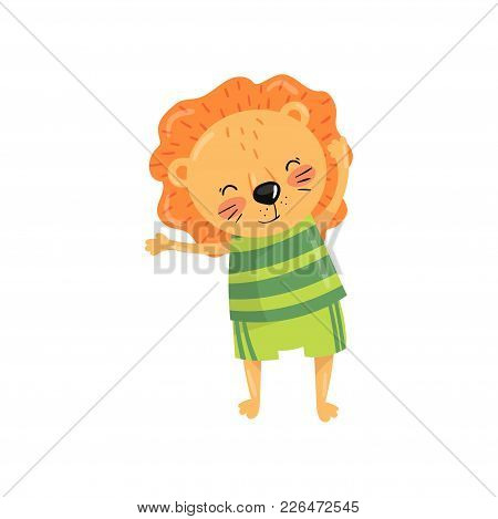 Funny Lion With Orange Mane Dressed In Sportswear Green Striped T-shirt And Shorts. Cartoon Wild Ani