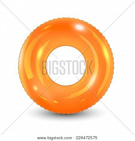 Swim Ring. Inflatable Rubber Toy. Realistic Summertime Illustration. Summer Vacation Or Trip Safety