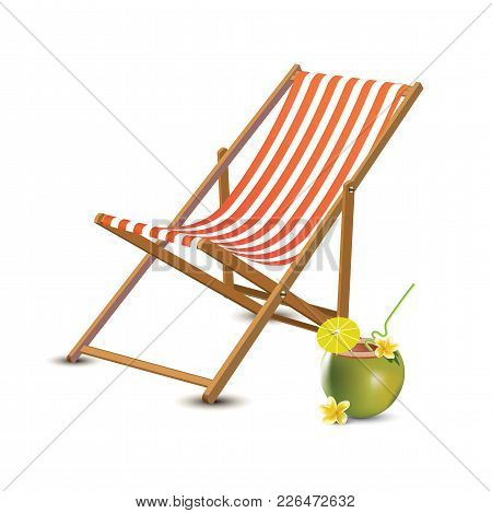Travelling Tourism Holiday Time Illustration Sun Lounger, Coconut Coctail On White Background, Parad