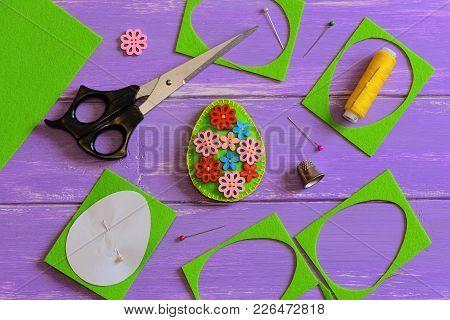 Felt Easter Egg Decoration. Handmade Felt Easter Egg With Wooden Flower Buttons. Felt Scrap, Scissor