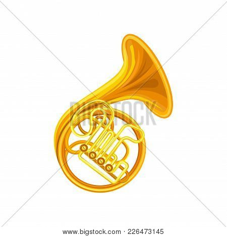 Golden French Horn. Brass Musical Instrument With Coiled Tube, Valves And Flared Bell. Isolated Vect