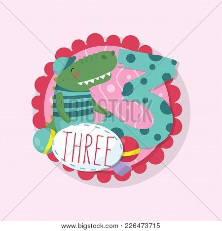 Educational Card Template For Fun Kids Math Game. Colorful Round Emblem With Adorable Crocodile And