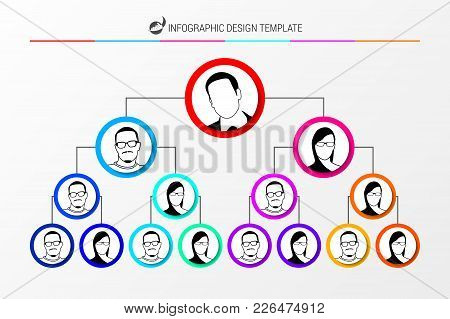 Organization Chart Concept. Infographic Design Template. Vector Illustration