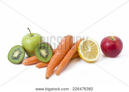 Fruits On A White Background. Lemon With Apples And Kiwi On White Background. Kiwi With Lemon On A W
