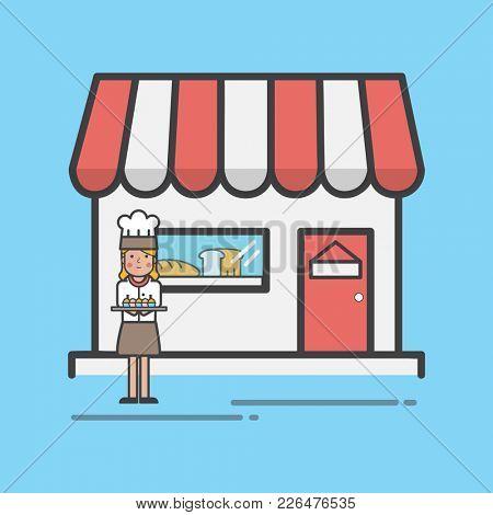 Illustration of bakery shop set