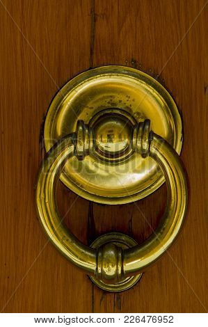 Detail Of The Vintage Door Knocker From Montalcino, Italy