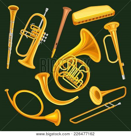 Collection Of Woodwind And Brass Musical Instruments. Clarinet, Trumpet, Harmonica, Wooden Pipe Sopi