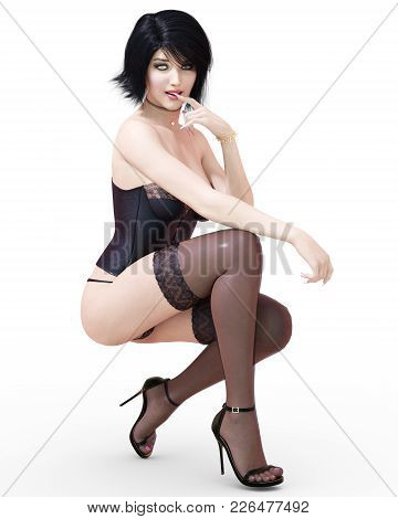 3d Beautiful Brunette Girl In Lingerie, Corset And Stockings. Black Clothes. Woman Studio Photograph