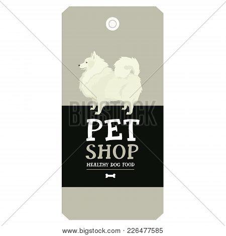 Poster Pet Shop Design Label Spitz Geometric Style Set