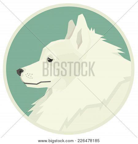 Dog Collection Spitz Geometric Style Avatar Icon Round Set