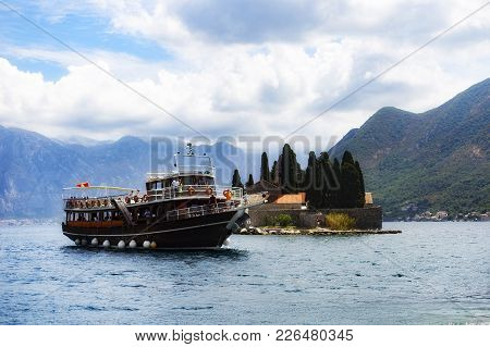Montenegro, Perast 12 August 2017, Tourists Sailing By Sea Around The Island, Editorial