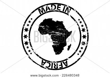 Made In Africa - Rubber Stamp - Vector - Africa Continent Map Pattern - Black