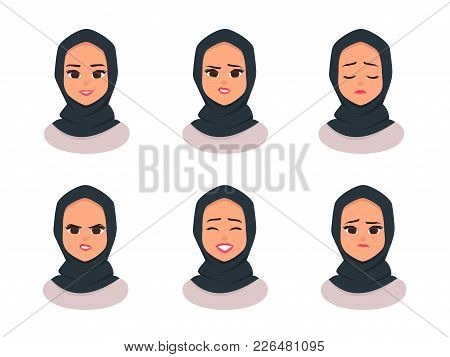 Set Smiling Girl In Hijabfacial Expressions Young Arabic Business Woman Wearing Hijab Arabian