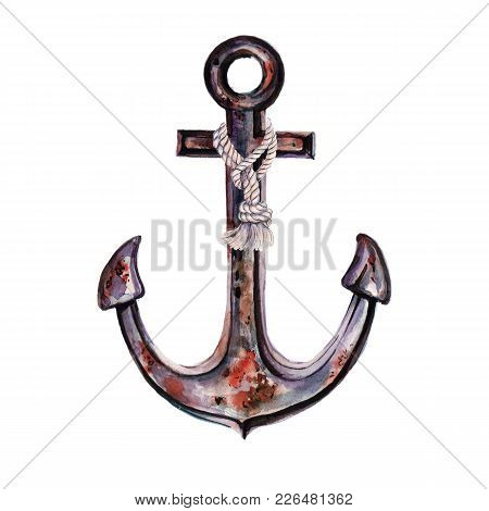 Old Rusty Anchor Of Marine Ship Vessel. Marine Themes. Watercolor Illustration