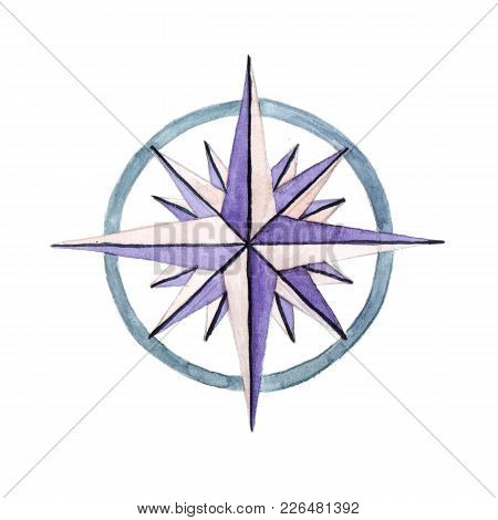 The Sea Compass For Travelling Around The World. Watercolor Illustration