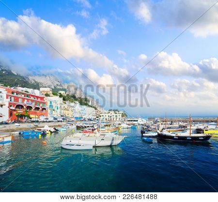 Marina Grande Harbour Under Cloudy Sky Of Capri Island, Italy