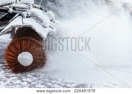 Snow Plow Does Removal After Blizzard In Winter. Snow Blower In Motorway. Winter Service On Road. We