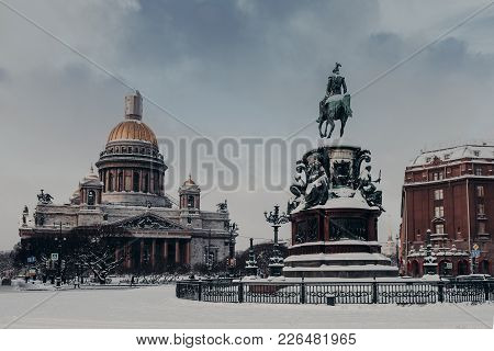 Outdoor View Of St Isaac`s Cathedral And Monument To Nicholas I In Saint Petersburg, Russia, Covered
