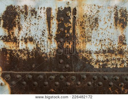Rust Metal Texture With Rivets, Abstract Grunge Background
