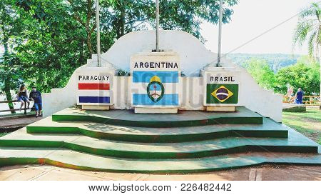 Monument Of The Three Frontiers Of Brazil, Argentina And Paraguay.