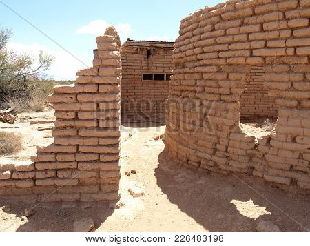 The Ghostly Remains Of An Old Adobe Brick Home Near Aztec Arizona. This Decaying Building Was Probab