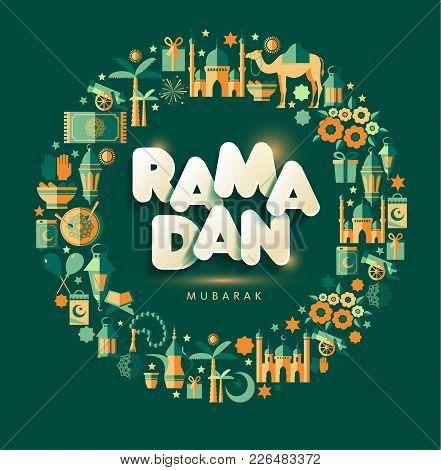 Ramadan Kareem Greting Illustration Of Ramadan On Green