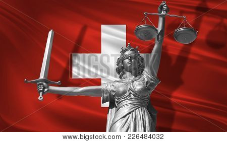 Cover About Law. Statue Of God Of Justice Themis With Flag Of Switzerland Background. Original Statu
