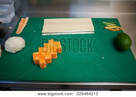 Table With Products For Sushi Nice A