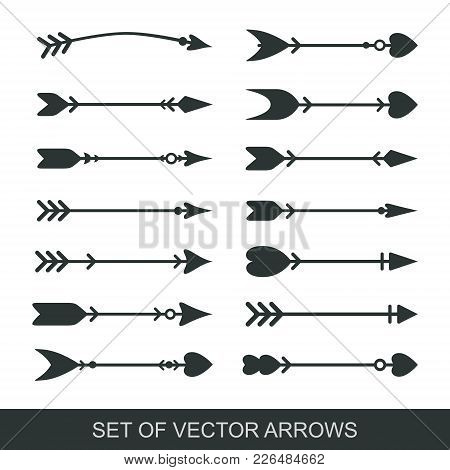 Set Of Black Hand Drawn Arrows For Bow. Hipster Ethnic Vector Elements. Arrow Cupid With A Heart. Il
